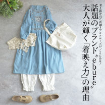 Dress Summer 2021 Light denim Average size Mid length dress singleton  Short sleeve Sweet Crew neck Loose waist Socket A-line skirt routine 18-24 years old Type A NATULAN / Natulan Embroidery More than 95% Denim cotton solar system