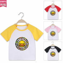 T-shirt Yellow, white, light blue, red, black, Barbie Pink, feather white Other / other 80cm,90cm,100cm,110cm,120cm,130cm neutral summer Short sleeve Crew neck leisure time No model nothing cotton Cartoon animation Cotton 100% A003 Class A Sweat absorption Chinese Mainland Guangdong Province