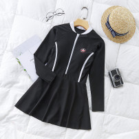 one piece  Independent brand S [recommended 80-90 kg], m [recommended 90-100 kg], l [recommended 100-110 kg], XL [recommended 110-120 kg] Black 8911, blue 8911 Skirt one piece With chest pad without steel support Polyester, others female Long sleeves Competitive swimsuit Solid color