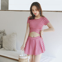 Split swimsuit Independent brand S [recommended 80-90 kg], m [recommended 90-100 kg], l [recommended 100-110 kg], XL [recommended 110-120 kg] Skirt split swimsuit With chest pad without steel support Polyester, others female Crew neck