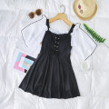 one piece  Independent brand S [recommended 80-90 kg], m [recommended 90-100 kg], l [recommended 100-110 kg], XL [recommended 110-120 kg] Black 8220, blue 8220, pink 8220 Skirt one piece With chest pad without steel support Polyester, others female Short sleeve Casual swimsuit Solid color