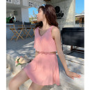 one piece  Independent brand S [recommended 80-90 kg], m [recommended 90-100 kg], l [recommended 100-110 kg], XL [recommended 110-120 kg] Pink 8007, black 8007 Skirt one piece With chest pad without steel support Polyester, others female Sleeveless Casual swimsuit Solid color, others