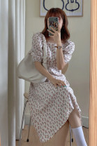 Dress Summer 2021 white S,M,L,XL Mid length dress singleton  Short sleeve Sweet square neck High waist lattice Socket A-line skirt puff sleeve Type A Printed, open back, pleated, hollowed out, pleated 71% (inclusive) - 80% (inclusive) other Mori
