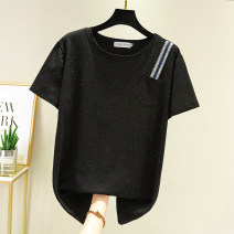 T-shirt Black, white L,XL,2XL,3XL,4XL Summer 2021 Short sleeve Crew neck easy Medium length routine commute cotton 96% and above 25-29 years old Simplicity Solid color