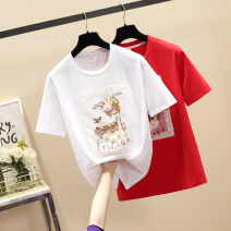 T-shirt White, red L,XL,2XL,3XL,4XL Summer 2021 Short sleeve Crew neck easy Regular routine commute cotton 96% and above 18-24 years old Simplicity Solid color