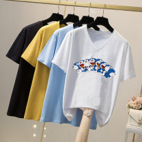 T-shirt Green, yellow, blue, black, white, pink L,XL,2XL,3XL,4XL Summer 2021 Short sleeve Crew neck easy Regular routine commute cotton 96% and above 18-24 years old Simplicity Solid color