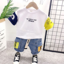 suit Other / other White T-shirt + pants, black T-shirt + pants, white T-shirt + 12116 pants, white T-shirt + jeans, black T-shirt + jeans male summer leisure time Short sleeve + pants 2 pieces Thin money No model Socket nothing Solid color cotton children Expression of love Class B Other 100%