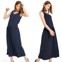 Dress Spring 2021 Dark blue, army green, khaki Average size longuette singleton  Sleeveless commute Crew neck Elastic waist Solid color Socket A-line skirt Others 25-29 years old Type A Other / other Simplicity Frenulum More than 95% other cotton