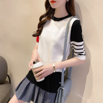 Wool knitwear Summer 2021 Average size White, black elbow sleeve singleton  Socket Viscose 81% (inclusive) - 90% (inclusive) Super short Thin money commute easy Low crew neck routine Color matching Socket Korean version Button