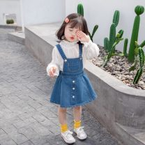 Dress Denim blue female Other / other 90cm,100cm,110cm,120cm,130cm Cotton 100% No season Korean version Skirt / vest Solid color other Splicing style 2021x013 other 3 years, 18 months, 5 years, 12 months, 3 months, 6 years, 6 months, 2 years, 4 years Chinese Mainland Guangdong Province