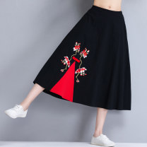 skirt Autumn of 2019 Average size black longuette commute A-line skirt other Type A 31% (inclusive) - 50% (inclusive) other hemp Embroidery, pocket literature