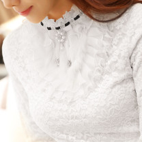 Lace / Chiffon Spring 2020 White, black, apricot, black single skirt S,M,L,XL,2XL,3XL Long sleeves Versatile Socket singleton  Self cultivation have cash less than that is registered in the accounts Half high collar Solid color puff sleeve Three dimensional decoration, flocking, buttons, mesh, lace