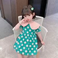 Dress Green, black female Other / other 90cm,100cm,110cm,120cm,130cm Other 100% summer princess Dot cotton Cake skirt 12 months, 18 months, 2 years, 3 years, 4 years, 5 years, 6 years, 7 years, 6 months, 9 months Chinese Mainland Shanghai
