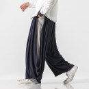 Casual pants Others Youth fashion Navy blue, black routine trousers Other leisure easy summer Large size Chinese style 2021 Medium low back Straight cylinder Haren pants make a slit or vent washing Solid color Original designer