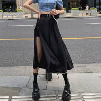 skirt Summer 2021 S,M,L,XL black Short skirt Sweet Irregular Solid color 18-24 years old other Splicing