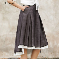 skirt Summer of 2019 155/64A/S 160/68A/M 165/72A/L black Mid length dress commute Natural waist A-line skirt 25-29 years old 30% and below other Amii Redefine polyester fiber Simplicity Pure e-commerce (online only)