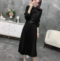 Dress Spring 2021 Mid length dress singleton  Long sleeves commute other Elastic waist Solid color Socket A-line skirt routine Others Type A lady Chiffon