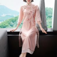 cheongsam Spring 2020 S M L XL XXL three quarter sleeve long cheongsam ethnic style High slit daily Oblique lapel Decor 25-35 years old Embroidery Villeanx polyester fiber Polyester 100% Pure e-commerce (online only)