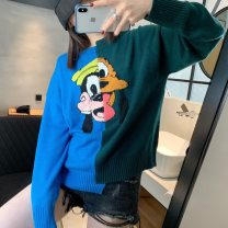 sweater Autumn of 2019 S,M,L Stitching cartoon sweater Long sleeves Socket singleton  Regular wool 31% (inclusive) - 50% (inclusive) Crew neck Regular commute routine Cartoon animation Straight cylinder Keep warm and warm 25-29 years old wool