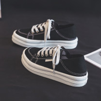 canvas shoe Belle Low Gang Black, white, green 35,36,37,38,39,40 Summer 2021 Frenulum Korean version rubber Solid color Youth (18-40 years old) Cross bandage Vulcanization process