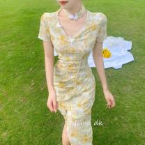 cheongsam Summer 2020 S,M,L Butterflies in Love with Flowers
