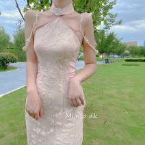 cheongsam Summer 2020 XS,S,M,L Black, short style, black, long style, pink, short style, pink, long style, buy a dress, send a flower brooch to the front of the chest, return the brooch, otherwise refuse to return