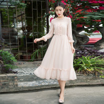 Dress Summer of 2018 Apricot powder Mid length dress singleton  three quarter sleeve commute other High waist Solid color Socket Big swing routine Others 25-29 years old Type A Obstinate / obstinate literature More than 95% other other