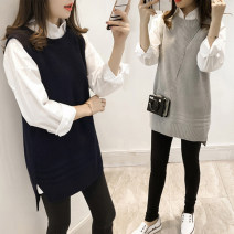 Vest Autumn 2020 Grey two-piece suit, black two-piece suit, [black] single sweater, [grey] single sweater, single shirt It's suitable for the treatment of breast cancer Medium length Crew neck commute Solid color No buckle I-shaped 18-24 years old 96% and above nylon