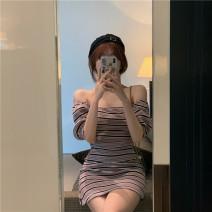 Dress Summer 2020 Graph color Average size Short skirt singleton  Short sleeve commute One word collar High waist stripe Socket camisole 18-24 years old Type A Korean version
