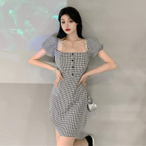Dress Summer 2020 lattice S,M,L Short skirt Short sleeve commute square neck lattice Others Tagkita / she and others Retro 71% (inclusive) - 80% (inclusive) other nylon