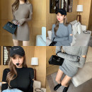 Dress Autumn of 2019 Grey, black, brown Average size Short skirt singleton  Long sleeves commute Crew neck High waist Solid color Socket 18-24 years old Type A Other / other Korean version