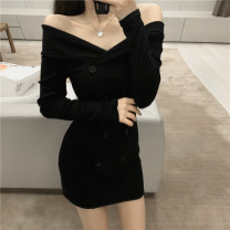 Dress Spring 2021 Apricot, black Average size Short skirt Long sleeves One word collar double-breasted Others