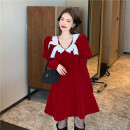 Dress Winter 2020 Red, black S, M Short skirt singleton  Long sleeves commute High waist 18-24 years old Type A Korean version