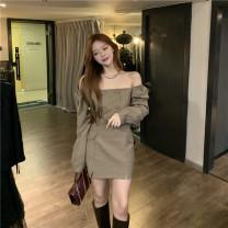 Fashion suit Autumn 2020 S. M, average size Coffee suit, coffee skirt cotton