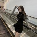 Dress Autumn 2020 black Average size Short skirt singleton  Long sleeves commute Crew neck Solid color Korean version