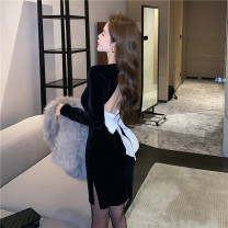 Dress Winter 2020 Picture color (with bow) S, M Short skirt singleton  Long sleeves commute High waist Socket 18-24 years old Korean version 5838#