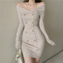 Dress Autumn of 2019 Apricot, black Average size Short skirt Long sleeves One word collar double-breasted Others