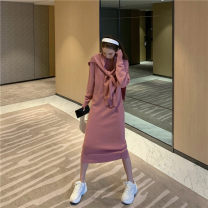 Dress Winter of 2019 Dark blue, pink Average size Other / other