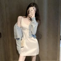 Fashion suit Autumn 2020 S. M, average size White suspender skirt, yellow suspender skirt, blue sweater, white sweater