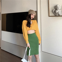 Fashion suit Winter of 2019 Average size Yellow sweater, grass green skirt Other / other