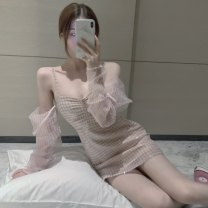 Dress Autumn 2020 Pink dress Average size Short skirt singleton  Sweet One word collar camisole 30% and below other other
