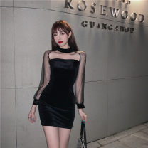 Dress Autumn 2020 black Average size Short skirt Fake two pieces Long sleeves commute One word collar High waist Solid color zipper One pace skirt routine Splicing