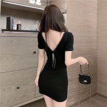 Dress Summer 2020 black Average size Short skirt singleton  Short sleeve commute V-neck High waist Solid color zipper other routine Others 18-24 years old Korean version 51% (inclusive) - 70% (inclusive) other cotton