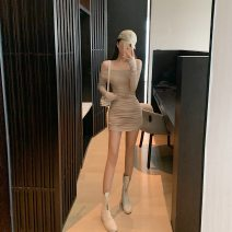 Dress Autumn of 2019 Nude color Average size Short skirt singleton  Long sleeves commute One word collar Korean version 30% and below other