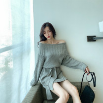 Wool knitwear Autumn of 2019 Average size Grey dress Long sleeves singleton  Socket cotton 51% (inclusive) - 70% (inclusive) Medium length thick commute Straight cylinder One word collar routine Solid color Socket 18-24 years old Other / other belt