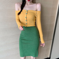 Fashion suit Autumn of 2019 Average size Eurya lemon yellow top, grass green skirt 30% and below