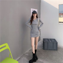Dress Spring 2021 Grey, red Average size Short skirt singleton  Long sleeves commute Crew neck High waist Solid color Socket One pace skirt routine 18-24 years old Type A Pleating other