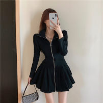 Dress Spring 2021 black Average size Short skirt singleton  Long sleeves commute stand collar High waist Solid color zipper A-line skirt routine Type A Splicing