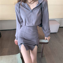 Dress Spring 2021 Hooded group Average size Short skirt singleton  Long sleeves commute V-neck High waist Solid color zipper One pace skirt routine bow 51% (inclusive) - 70% (inclusive) other