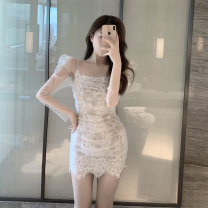 Dress Summer 2021 white Average size Short skirt singleton  Long sleeves square neck Socket One pace skirt routine 30% and below other other